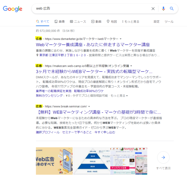 web広告の検索結果画面